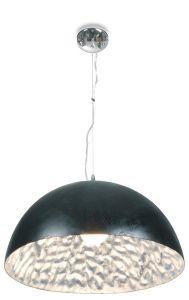 Hanglamp Moonface Ø38cm - zwart / zilver - 60w E27