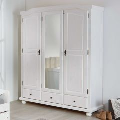 Kledingkast Karel 150cm met 3 deuren & spiegel - wit