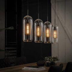 Hanglamp 4x Ø15 glas - geperforeerd staal - Oud zilver