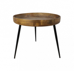 Table d'appoint Ventura - ø60 cm - bois de manguier / fer - naturel