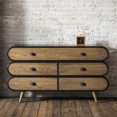 Dressoir Trixie 140cm 5 lades hout & metaal - bruin/zwart