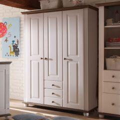 Kledingkast Laurel 131cm met 3 deuren & 3 lades - wit/bruin
