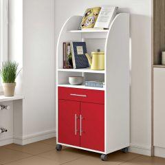 Armoire d'appoint Jeanne pour four à micro-ondes - blanc/rouge
