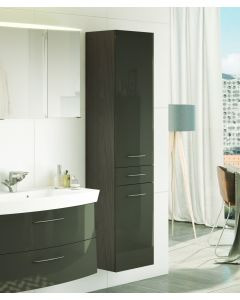 Colonne Florent 40cm avec 2 portes & tiroir - graphite/gris brillant