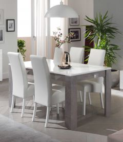 Eettafel Greta 160 cm - beton/wit