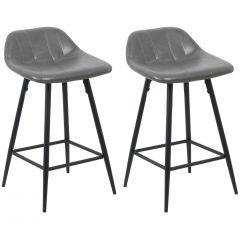 Jeu de 2 chaises de bar Steady 4 pieds - gris