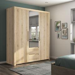 Kledingkast Luisa 184cm met 3 deuren & spiegel - helvezia eik