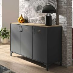 Industrieel dressoir Manno 136cm 3 deuren - zwart