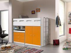 Halfhoogslaper Bonny 70 met bureau, commode en kast - oranje