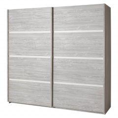 Garde-robe Clara 220cm à portes coulissantes - gris