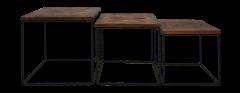 Salontafelset Austin - gerecycled Javahout / ijzer - set van 3