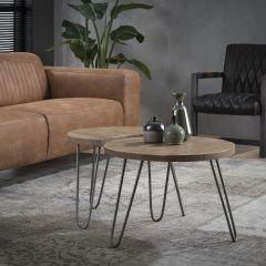 Table basse Allison Ø60cm industriel - mangue clair