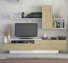 Tv-meubel Cosmit 240cm - eik/wit
