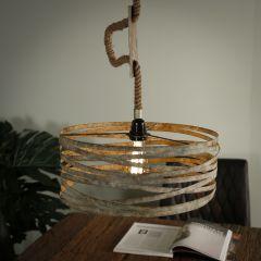 Hanglamp Ø40 twist touw - Verweerd zink