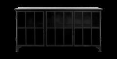 Dressoir Manhattan- metaal / glas - zwart