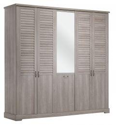 Armoire Wanda 230 cm 5 portes  & miroir - chêne cérusé