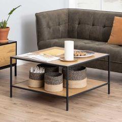 Table basse Dover 80x80 industriel - noir/chêne sauvage