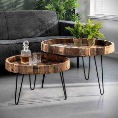 Lot de 2 tables basses rondes Lodge Ø80 bois recyclé