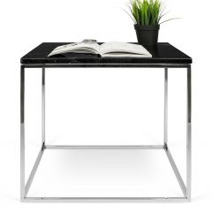 Bijzettafel Gleam 50x50 - zwart marmer/chroom
