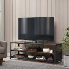 Salontafel/tv-meubel Bill 140x40 2 legplanken - rustiek bruin/zwart