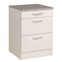 Meuble bas Oke 60x60 avec 3 tiroirs - blanc