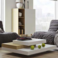 Table basse Slate 90x90 - blanc/chêne