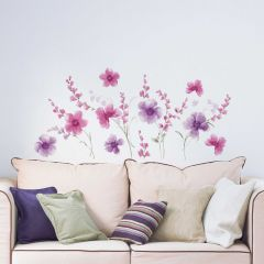Muursticker Purple Flowers XL