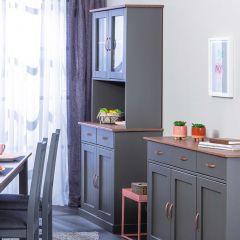 Vaisselier Cerci 90cm à 4 portes & 2 tiroirs - gris