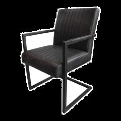 Lot de 2 chaises de repas Texas avec accoudoir Yacht cuir/métal - grafiet