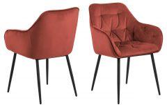 Set de 2 chaises avec accoudoirs Lynn - corail/noir