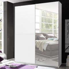 Kledingkast Wouter 170cm met 2 deuren & spiegel - wit