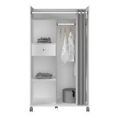 Garderobe sur roulettes Justin - gris/blanc