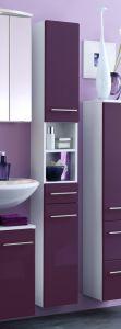Colonne salle de bains Small 25cm 1 tiroir & 2 portes - violet brillant