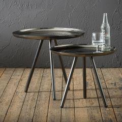 Table d'appoint ensemble jeux de 2 Ø50cm - Ø58cm acier - Nickel noir