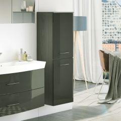 Colonne Florent 40cm avec 2 portes - graphite/gris brillant