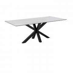Eettafel Hennie 200x100 keramiek - wit/zwart