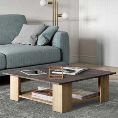 Table basse Square 89x89 - chêne/béton