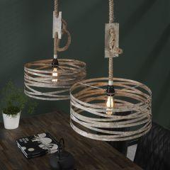 Hanglamp 2xØ40 twist touw - Verweerd zink