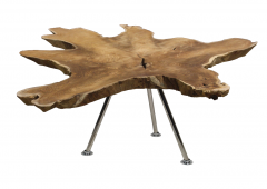 Salontafel Root - ø80-90 cm - oud teak / RVS