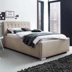 Lit coffre Homera 160x200 - beige (tête de lit capitonnée)