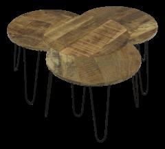 Lot de 4 tables basses Ventura - bois de manguier/fer