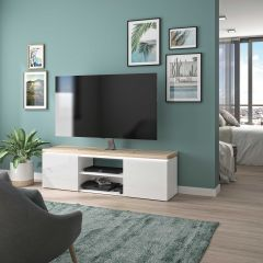 Tv-meubel Pauline 153cm met 2 deuren & ledstrip - wit