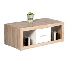 Table basse Brekalo 115cm avec 2 tiroirs - chêne/blanc
