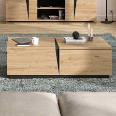 Table basse Split 1 tiroir - chêne artisan
