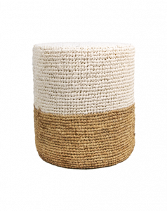 Pouf Malibu - raffia - ø40 cm - naturel / wit