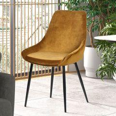 Lot de 2 chaises Mirano métal/velours - or