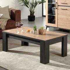 Table basse Lodz 130x70 - chêne/noir
