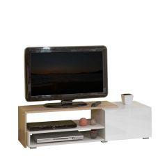 Tv-meubel Briks 120cm - wit/eik