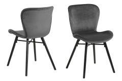 Set van 2 fluwelen stoelen Tilda met schuine poten - donkergrijs/zwart