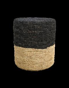 Pouf Malibu - raphia - ø40 cm - naturel / noir